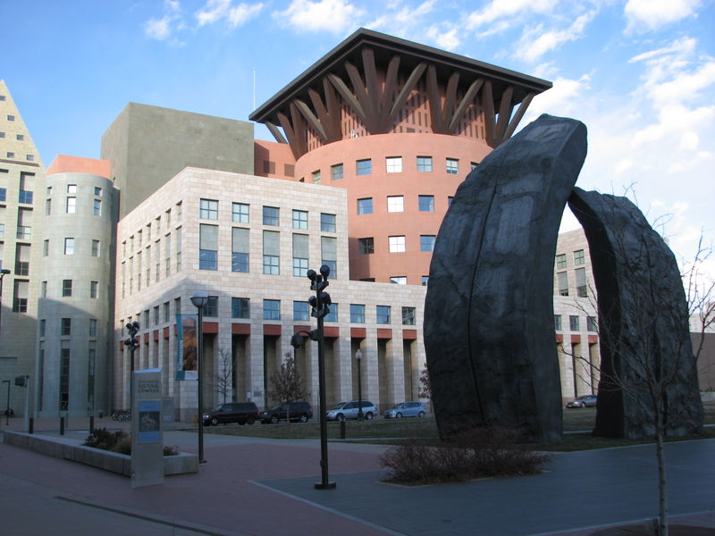 Denver Library and Rock Sculpture
