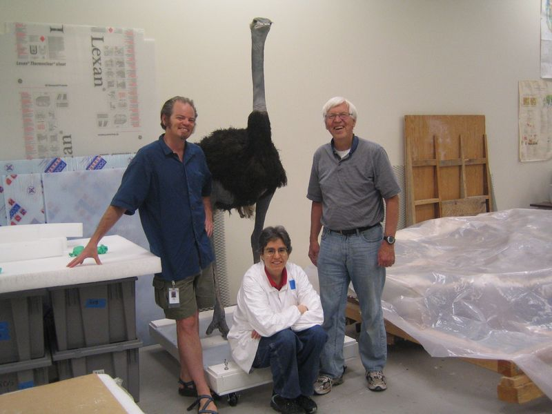 Aaron, Susanne and Bob with the Ostrich