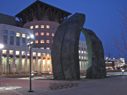 Sculpture_and_library_at_night