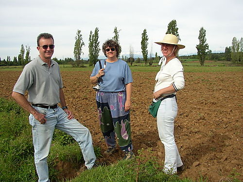 Dave, Paula & Carmen walking the fields