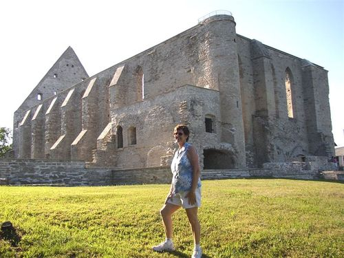 Deb in front of the convent ruins