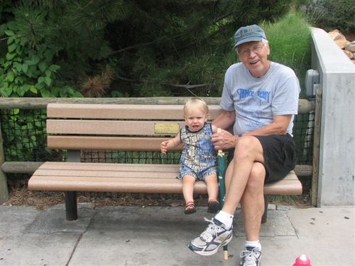 Ethan and grandpa at the zoo