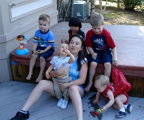 Gisela with our five grandkids